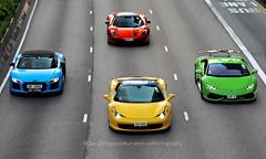Ferrari 458 / Audi R8 / Mclaren 12C / Lamborghini Huracan, Wan Chai, Hong Kong (Daryl Chapman Photography) Tags: xx155 me1888 up2 dfg2 canon 5d mkiv 70200lii pan panning panningphotography ferrari lamborghini audi mclaren 12c r8 f458 huracan italian german english hongkong china sar wanchai car cars carspotting carphotography auto autos automobile automobiles