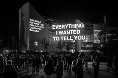 Everything I wanted to Tell You @ Nuit Blanche Toronto 2018 (A Great Capture) Tags: everythingiwantedtotellyou nuitblanche art nbto18 bw blackandwhite scarborugh scarborough toronto ontario canada festival public civiccentre crowd people text writing onthewalls guildinn city urban agreatcapture agc wwwagreatcapturecom adjm ash2276 ashleylduffus ald mobilejay jamesmitchell on canadian photographer northamerica torontoexplore fall autumn automne herbst autunno 2018 downtown lights night dark nighttime cityscape urbanscape eos digital dslr lens canon 70d sigma outdoor outdoors outside streetphotography streetscape photography streetphoto street calle illuminate lighting hiba abdallah exhibition textbased artist nuit blanche