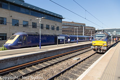 DRS 68033, ScotRail 43135 -  Haymarket (Neil Sutton Photography) Tags: 43135 68033 beaconrailleasing canon class68 drs drslivery dieselelectric diesellocomotive edinburgh eurolight fifecircle hst haymarket highspeedtrain inter7city railway scotrail scotland scotlandsrailway train uklight loco locomotive