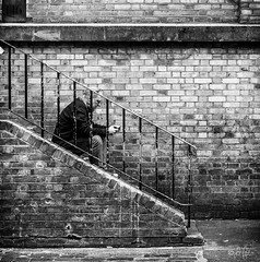 untitled.jpg (LeFoto - photography by Peter Le Cointe) Tags: stairs citylife portrait urban london bricklane texting hampshirephotographer blackwhite streetphotography sitting peterlecointe lefoto people newforestphotographer