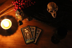 intentions (aadalton0415) Tags: halloween candle cards creepy dark moon wine witch