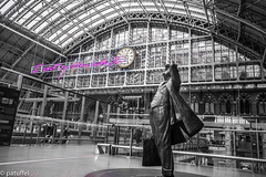 """I want my time with You"" (patuffel) Tags: tracey emin st pancras international station london want time with you leica 28mm dent clock bejamin statue sir john betjeman poet m10 20 summicron black white bw love letter europe"
