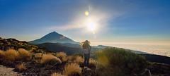 Late Afternoon / Tarde (López Pablo) Tags: sun mountain people panorama cloud bush brown blue white teide canary island tenerife spain nikon d7200 afternoon