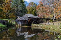 Mabry Mill - Color Version (John H Bowman) Tags: virginia floydcounty patrickcounty virginiamountains parks nationalparks blueridgeparkway mills mabrymill waterwheels millraces fencesgates weatheredwood lakesandponds reflections stonework fall october2016 october 2016 canon24704l