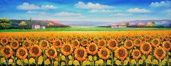 Say Hello, Art Painting / Oil Painting For Sale - Arteet™ (arteetgallery) Tags: arteet oil paintings canvas art artwork fine arts sunflower flower summer spring yellow plant flowers floral blossom bright bloom natural petal field color flora farming meadow sunflowers sky sun freshness daisy closeup close fresh rural sunny season happy landscape pretty vibrant blooming colorful grass sunlight orange botany decoration organic plants landscapes fields paint