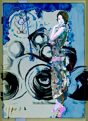 A song for you (Bamboo Barnes - Artist.Com) Tags: retro secondlife avatar blue pink white texture lamp woman vintage digitalart virtualart bamboobarnes monochrome