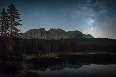Lago della Carezza Nightscape (Vaidas M) Tags: dolomites trentino altoadige dolomiti lagodellacarezza milkyway vialattea reflection riflesso italia italy nikond800 samyang24mmf14edasumc
