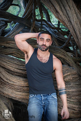 Eddie (Levi Smith Photography) Tags: man men mens mans fashion tank tanktop top shirt pants jeans trees wood pose armpit arms body beard amazing armenian handsome hot tattoo tattoos fist eyes biceps chest hairy hair model male