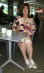 Mammoth coffee break (janegeetgirl2) Tags: transvestite crossdresser crossdressing tgirl tv ts trans outside london dress outdoors sightseeing wrap converse shoes