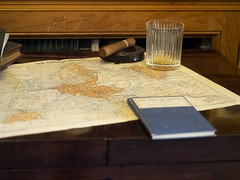 Cambridgeshire 2018: Planning ahead (mdiepraam) Tags: cambridgeshire 2018 angleseyabbey nationaltrust interior desk map glass notebook cigar
