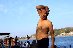 Morning Yoga (irrfanazam) Tags: spiritual ghat sky blue water photographer streetphotography street photography fitness gym exercise old shirtless india rishikesh ganga bath morningyoga river morning oldman yoga