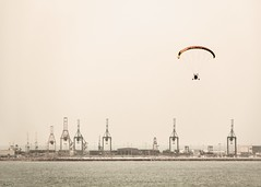 commuting to work (*BegoñaCL) Tags: sky horizon crane harbour silhouette begoñacl sea mediterráneo