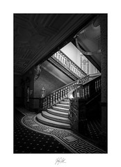 Stairs #4 (AnthonyCNeill) Tags: stairs stairway staircase light shade shadows diagonal lines cathedralquarter hotel hôtel black white blanco negro schwarz weiss noir blanc monochrome mono nikon d750 1835mm derby indoor interior escaleras treppe lowkey clavebaja licht dunkel luz sombra dark