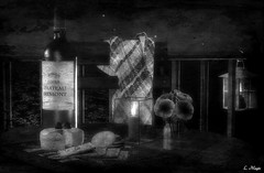 By The Sea (Loegan Magic) Tags: secondlife stilllife wine cheese night sky ocean sea water lantern