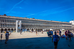 St. Marks Square in Venice is packed with tourists.