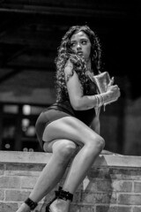 2b (ceruleansnake) Tags: atx austin tx city downtown 3am night nightlife prostitute woman female purse sitting holding shoes brick wall legs mini skirt dress black leg knees thigh ass pose posing portrait pretty sexy bw white photo photography skin life curves