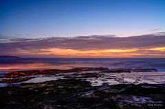 Colours in the dark (JustAddVignette) Tags: australia clouds cloudysunrise dark dawn deewhy firstlight headland hightide landscapes light newsouthwales ocean reflections rockpool rocks seascape seawater sky sydney water waves