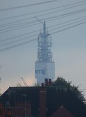 BT Tower seen from Stoneleigh Road, Perry Barr (ell brown) Tags: perrybarr birmingham westmidlands england unitedkingdom greatbritain tree trees stoneleighrd bttower bttowerbirmingham roof chimney chimneys
