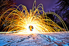 Steel Wool in the Snow (1300 Photography) Tags: nikon d750 20mm affinity snow outdoors nightphotography longexposure steelwoolphotography steelwool