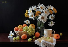 The Harvest Comes (Esther Spektor - Thanks for 12+millions views..) Tags: stilllife naturemorte bodegon naturezamorta stilleben naturamorta composition creativephotography art tabletop harvest flowers daisy bouquet vase basket cup napkin fruit apricot apple grape cluster glass ceramics lace ambientlight pattern white yellow green orange brown black estherspektor canon coth coth5 naturalezamuerta fabuleuse