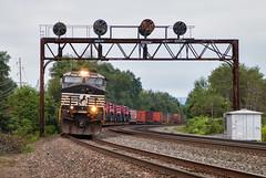 NS 054 - Tipton, PA (Wheelnrail) Tags: ns norfolk southern ge c449w train trains locomotive railroad pitsburgh line prr signal bridge pennsylvania pl 054 high wide special case combine tipton freight