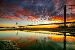 Sunset Emmericher Rheinbrücke (Maarten Takens) Tags: sunset clouds colour bridge river rhine rhein rijn brug emmerich germany duitsland herbst herfst autumn