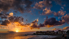 Surfer's Sunset (Jörg Bergmann) Tags: autumn islascanarias lumixg20f17 lagomera october panasonic20mmf17 panasonicdmcgf7 pancake playadelacalera vallegranrey atardecer beach canarias canaryislands clouds coast españa gf7 gomera horizon lumix lumix20mm m43 mft micro43 microfourthirds ocean panasonic panorama puestadesol sea seascape spain stitched sun sunburst sundown sunset surf surfer travel vacation wallpaper water waves winter μ43