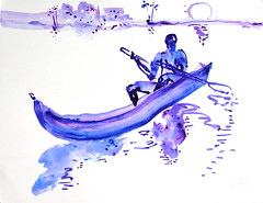 AFRICA TO THE NAKED 208 (eduard muntada) Tags: africa to the naked 208 mountains boat river watercolor sun light purple blue dessing simplicity