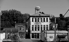 Knights of Labor Opera House Built 1881 Shawnee, Ohio (Eat With Your Eyez) Tags: main street shawnee ohio small town tiny village old beautiful architecture buildings black and white bw water tower opera house knights labor panasonic fz1000