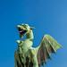 Statue of dragon on the bridge, symbol of Ljubljana, Slovenia