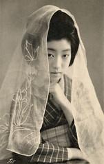 Teruha with a Mai Tenugui 1912 (Blue Ruin 1) Tags: geigi geiko geisha shinbashi shimbashi tokyo maitenugui dancingscarf japanese japan meijiperiod taishoperiod 1910s 1912 postcard teruha