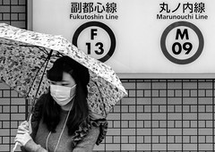 2017-10-Japan-3498 (Pierre. Here and There.) Tags: japan japon tokyo shinjuku people umbrella bnw bw blackandwhite