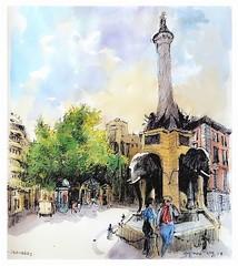 Chambéry - Savoie - France - la fontaine aux éléphants (guymoll) Tags: googleearthstreetview croquis sketch chambéry alpes savoie france éléphants fontaine aquarelle watercolour watercolor