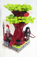 Robin Hood (LegoHobbitFan) Tags: lego moc build model creation robin hood 8x8 vignette green brown tree leaves grass path stone soldier rocks medieval castle forest woods fire pan bird archer knight