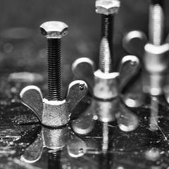 Nuts and bolts (Joseph Pearson Images) Tags: macromondays perfectmatch macro square blackandwhite bw mono nut wingnut bolt