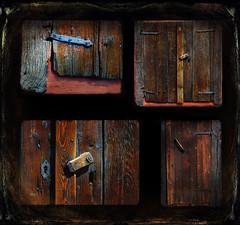 Lock and handle. (BirgittaSjostedt) Tags: door collage lock keyhole nail handmade throw wood building old ancient v