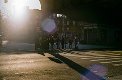 On Line (GPhace) Tags: 35mm brooklyn fall fuji fujifilm lensflare longisland minoltax700 nyc rokkormd slr superia1600 busstop crosswalk goldenhour shadow filmphotography
