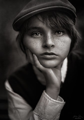 Hat & Freckles ({jessica drossin}) Tags: portrait child boy jessicadrossin photography face freckles hat vintage texture wwwjessicadrossincom monochrome