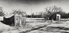 do you remember when? (BillsExplorations) Tags: abandonedkansas abandoned decay ruraldecay monochromemonday old ghosttown garland kansas forgotten grunge snapseed mainstreet smalltown hamlet blackandwhite bygone