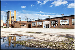 Old Factory  in Archer Heights, a Chicago (lauren.boltz) Tags: architecture archerheights architecturaldetail architecturalstyle brick building chicago city color cookcounty crawfordindustrialpark day factory horizontal illinois industrial midwest nopeople outdoors photography reflection sky smokestack southwestside sunny twentiethcentury urban usa vintage wideangle