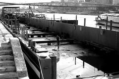 Cleaning the barge (pascalcolin1) Tags: paris homme man seine fleuve riverr péniche barge quais photoderue streetview urbanarte noiretblanc blackandwhite photopascalcolin 50mm canon50mm canon