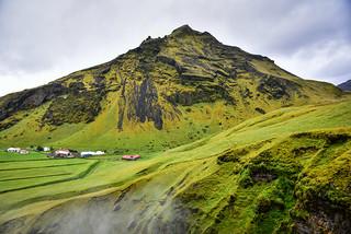 Green Icelandic Landscaped viewed from Skógafoss Waterfall - Gönguleið um Fimmvörðuháls Iceland