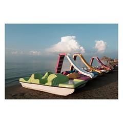Sidari, Corfu, August 2018 (Number Johnny 5) Tags: tamron d750 colours water clouds pedalo topographics beach imanoot banal sky sidari mundane 2470mm deserted boat sea nikon johnpettigrew seaside