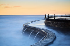 Scarborough South Bay High Seas (mark_mullen) Tags: scarborough southbay northyorkshire highseas abstract scupper curve uk england northsea seascape wall seawall scarboroughspa longexposure leebigstopper canon24105 canon5dmk3 openairswimmingpool sunset dusk markmullenphotography