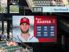 Citi Field, 08/26/18 (NYM v. WAS): Bryce Harper at-bat graphics as shown in the top of the 8th inning - unfortunately for Mets fans, Harper would break the game open in this at-bat with a 3-run double (IMG_3060a) (Gary Dunaier) Tags: baseball stadiums stadia ballparks mets newyorkmets flushing queens newyorkcity queenscounty queensboro queensborough citifield