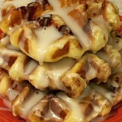 Cinnamon Roll Waffles With Cream cheese glaze.... (steamboatwillie33) Tags: food weekend breakfast cinnamonroll waffles delicious 2018 creamcheese glaze deliciousforweekendbreakfast semihomemade pillsbury dessert