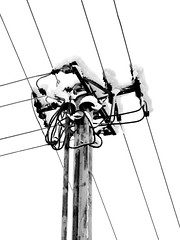Snowy power pole (Yirka51) Tags: tangled blackandwhite stanchion pillar column wire insulator powerline winter white whitebackground voltage snowy snow sky rusted rust pylon metal linen line ironing iron electricity electriccable cable