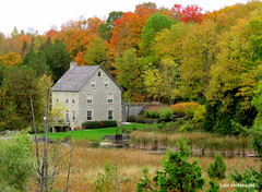 Old Mill on the Rocky Saugeen River (Lois McNaught) Tags: oldmill oldbuilding landscape scene rockysaugeenriver ontario canada fallcolour stream