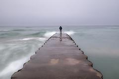 Alone (SebLC) Tags: ifttt 500px moody autumn fall toronto fog grey island lee filter long exposure coastline horizon over water beach jetty seascape sea wave shore ocean bay coast leefilter longexposure