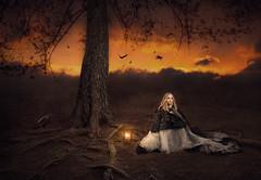 Nightfall ({jessica drossin}) Tags: jessicadrossin woman lantern dark ravens halloween wwwjessicadrossincom